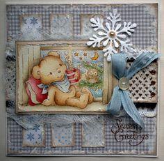 Stampavie, Christmas Card, bear, Distress Ink