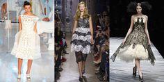 剪紙藝術演化出猶如蕾絲般的時尚設計。(由左至右:Louis Vuitton 2012春夏、Giles 2013春夏、Alexander McQueen 2008秋冬)