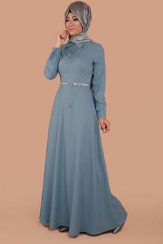 Yakası Boncuklu Kemerli Elbise İndigo Ürün kodu: MSW9150 --> 69.90 TL