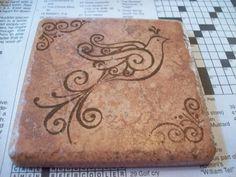 stamped tile coasters