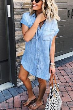 Crisdress Mango Pocket Denim Shirt Dress - crisdress : Details: Material:Denim Style:Fashion Style,Oversize Lapel ,Short Sleeve,High Quality Soft and comfortable fit, Suitable to wear on different occasions SIZE US/CAN. Fashion Week, Look Fashion, 2000s Fashion, Classy Fashion, Petite Fashion, Fashion Killa, Fashion 2018, French Fashion, Woman Fashion