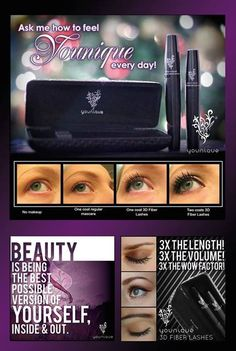 Younique Make-up, Try it, you will love it! To order or schedule your own online party, go to www.MyHolidayLashes.com, because you can have Holiday lashes everyday!