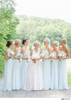 The prettiest blue ever for bridesmaid's dresses. Almost the exact color of hydrangea or Wedgwood china!