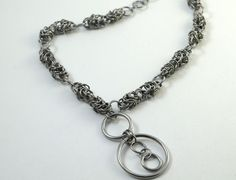 Stainless Steel Byzantine Variant Chainmaille necklace by HarlequinWeave - LOVE stainless steel!