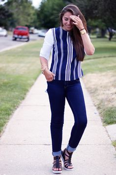 striped shirt. endless rose. gladiator sandals. gold watch. gold bracelet. brunette. fashion. lauryncakes.