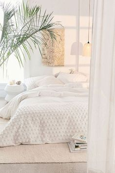 Tufted Dot Duvet Cover Serenity inspiration with this cozy white bedroom as possible. All White Bedroom, Dream Bedroom, Home Bedroom, White Bedding, Peaceful Bedroom, Modern White Bedrooms, White Rooms, Small Bedrooms, Minamilist Bedroom