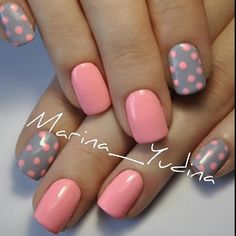 56 Easy Nail Art Ideas For Summer Short polka dot nails! Are you looking for nails summer designs easy that are excellent for this summer? See our collection full of cute nails summer designs easy ideas and get inspired! Nail Art Rosa, Dot Nail Art, Polka Dot Nails, Polka Dots, Nagellack Design, Nagellack Trends, Grey Nail Designs, Simple Nail Designs, Stylish Nails
