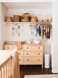 The Best Small Nursery Idea Is Turning the Closet Into a Storage-Friendly Alcove #nurseryideas Create more storage—even for the crib!—with this small nursery idea.