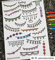 Stationery Pal These buntings are so colorful it must be an awesome element for your bullet journal Credit to Borders Bullet Journal, Bullet Journal Headers, Bullet Journal Banner, Bullet Journal Lettering Ideas, Bullet Journal Notebook, Bullet Journal Aesthetic, Bullet Journal School, Bullet Journal Ideas Pages, Bullet Journal Inspiration