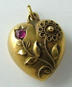 Edwardian 15ct Gold & Ruby Puffed Heart Charm