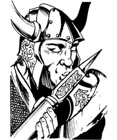 Arn Yonson really, really loves his battle axe +2. If you want to hire him as a bodyguard or fighter trainer, you can find him at the Comeback Inn in Blackmoor. (Jim Holloway, from D&D module DA1: Adventures in Blackmoor by Dave Arneson and David...