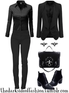 "thedarksideoffashion: ""Let's get down to spooky business. Buy Here >>> Blouse $24 / Pants $30 / Blazer $35 / Bat Earrings $15 / Bag $71 / Boots $32 """