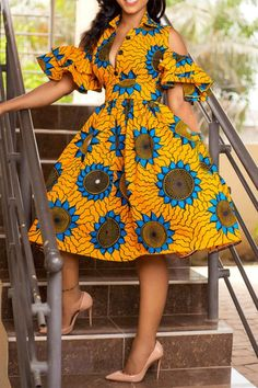 Half Sleeve Print Lapel Floral Pullover A-Line Women's Maxi Dress African Print Dresses, African Fashion Dresses, African Dress, Fashion Outfits, Womens Fashion, Ankara Fashion, African Attire, Dress Fashion, Fashion Ideas