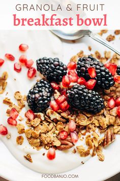 This granola breakfast bowl is yogurt topped with fresh fruit and pecan granola. It's so easy to make, and one of my favorite breakfasts! Cereal Recipes, Waffle Recipes, Donut Recipes, Sausage Recipes, Best Breakfast Recipes, Healthy Breakfast Recipes, Biscuit Recipe, Breakfast Bowls, Fresh Fruit