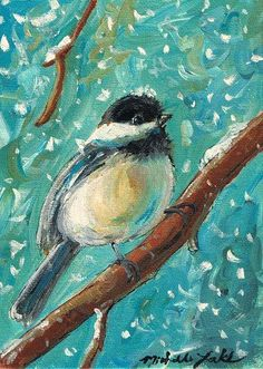 Chickadee in Snow  5 x 7 acrylic on canvas panel by grafittigirl, $35.00