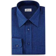 Brioni Button-Front Leisure Shirt ($283) ❤ liked on Polyvore featuring men's fashion, men's clothing, men's shirts, men's casual shirts, blue solid, mens linen shirts, mens casual linen shirts, mens button front shirts, mens long sleeve casual shirts and mens longsleeve shirts
