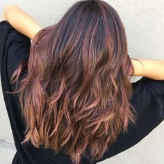 Dark+Brown+Hair+With+Rose+Gold+Balayage