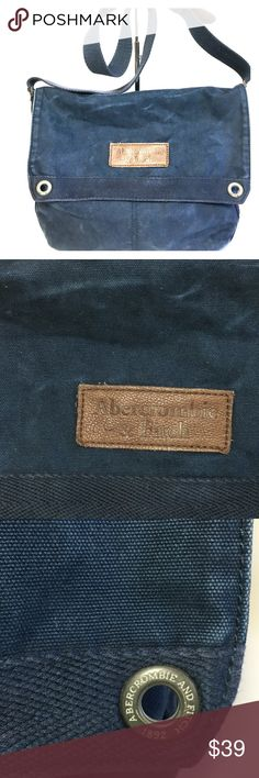 Abercrombie & Fitch Canvas Denim Messenger Bag Abercrombie & Fitch Large Canvas Denim Messenger Bag. Abercrombie & Fitch Men's Messenger bag Cotton & leather with adjustable shoulder strap. This bag is in distressed look blue denim industrial canvas. Please see pictures for your review.   This bag is in excellent condition with no stains, spots, tears, wears or odor. Comes with Plenty of room and pockets. Abercrombie & Fitch Bags Messenger Bags