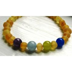 Custom Mother´s Bracelet -- RAW Baltic Amber and Gemstone Beads