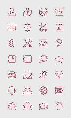 Alfa Romeo Mobile - Pictograms by Stefano Vetere, via Web Design, Icon Design, Logo Design, Graphic Design, Icons Web, Mobile Icon, Mobile Ui, Sketch Notes, Line Icon