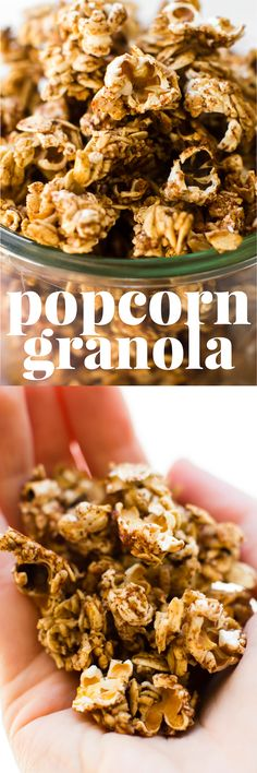 This easy 5 Ingredient Popcorn Granola is a mashup of two favorite by-the-handful snacks into one sweet, salty, offbeat treat! #vegan #oilfree #healthysnack