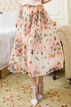 Bohemian Printed Lined Chiffon Skirt For Women