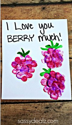 """I Love You Berry Much"" Fingerprint Raspberry Card Idea for Kids to make! They could make this card for Mother's Day, Father's day, or even Valentines! Fingerprint Crafts, Footprint Crafts, Fathers Day Crafts, Valentine Day Crafts, Valentine Crafts For Toddlers, Crafts Toddlers, Mothers Day Crafts For Kids, Valentine Activities, Daycare Crafts"