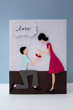"""Engagement card using Cricut cartridge """"Sweethearts"""" and Pink by Design's stamp set """"Scripted Year."""""""