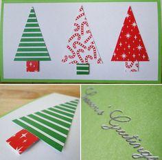 carte-vœux-Noël faite maison sapins papier carton rouge vert