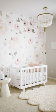 This watercolor floral mural is practically made for your little girl's nursery! Take inspiration from this feminine design to give your little one a unique bedroom style.