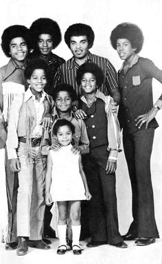 Joe Jackson with his children. (Tito, Jackie, Marlon, Jermaine, Randy, Michael, and Janet Jackson)