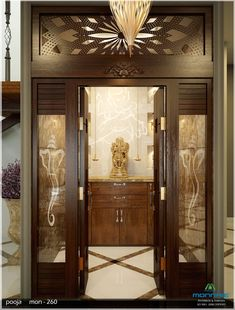 New pooja room door design 19 Ideas Living Room Partition, Room Partition Designs, Glass Partition, Krishna, Temple Room, Temple Design For Home, Mandir Design, Pooja Room Door Design, Wooden Door Design