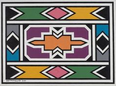 Esther MAHLANGU (born in Untitled - Oil on canvas.], Modern and Contemporary Art - Part 2 in Cannes Auctions Loom Patterns, Textures Patterns, Africa Symbol, Africa Tribes, Afrique Art, African Art Paintings, Elements And Principles, Cement Crafts, South African Artists