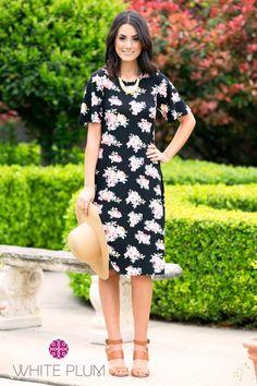 Elle Floral Midi Dress   2 Colors