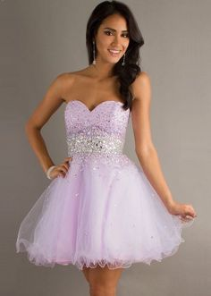 Light Purple Strapless Sequined Tulle Short Cocktail Dress