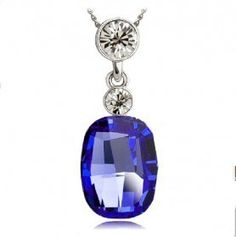 Elegant Dark Blue and Clear Crystal Pendant Necklace. Starting at $4