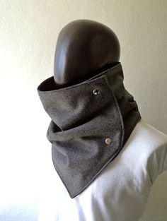 Men scarf Extra Wide Dark grey wool with metalic  by CheriDemeter, $32.50