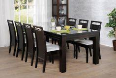 MODULI-pöytä 220x100cm lasikannella ja 8kpl EERIKA-tuoli verhoiltu istuin - Moduli-ruokapöydät | Sotka.fi