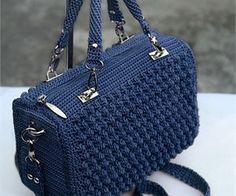Crochet blue handbag