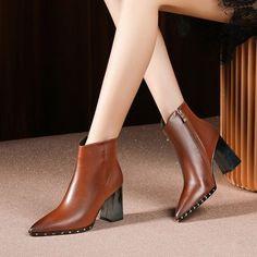 Chiko Estela Pointed Toe Block Heels Boots - Top Of The World Pointed Toe Block Heel, Block Heel Loafers, Block Heel Boots, Heeled Loafers, Block Heels, Heeled Boots, Shoe Boots, Ankle Boots, Stiletto Boots