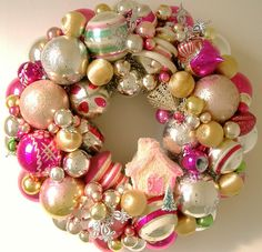What a beautiful way to display!!!Vintage Christmas Ornaments Wreath Cottage by giddyuppony on Etsy, $100.00