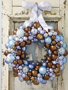 Festive wreaths are another easy way to repurpose old or broken baubles