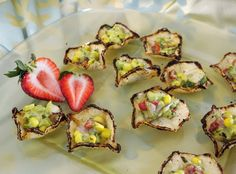 Avocado corn salsa served in bite-size tortilla cups - La Prima Catering - The new look of wedding food - The Washington Post