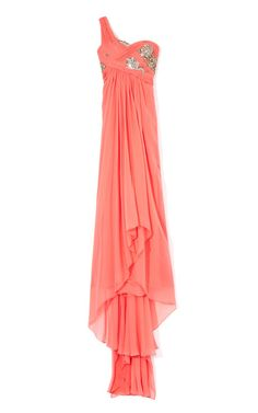 Embroidered Grecian Chiffon Gown by Marchesa