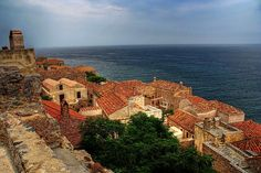 View of Monemvasia, Greece Beautiful Places To Visit, Oh The Places You'll Go, Monemvasia Greece, Greece Travel, Dream Vacations, Where To Go, Paris Skyline, The Good Place, Poster