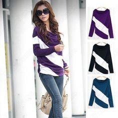 Free Shipping  New Fashion Women's batwing long sleeve T-shirt Stripe Tops & Blouses Cotton on AliExpress.com. 10% off $9.89