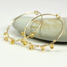 Citrine Wire Wrapped Gold Fill Hoops 14K by KristinNoelDesigns, $38.00