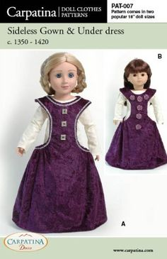 """Amazon.com: Pattern for Side less Gown - fits 18"""" American Girl Dolls: Toys & Games"""
