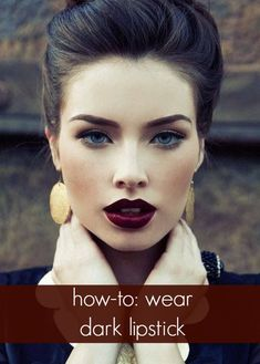 Tips to Rocking Dark Lips This Fall Dark vintage lipstick, love this for fall! : Pin Up Girl Makeup :: Dark Lipstick:: Retro makeupDark vintage lipstick, love this for fall! : Pin Up Girl Makeup :: Dark Lipstick:: Retro makeup Fall Makeup Looks, Love Makeup, Makeup Tips, Winter Makeup, Makeup Ideas, Autumn Makeup, Gorgeous Makeup, Dark Makeup, Retro Makeup