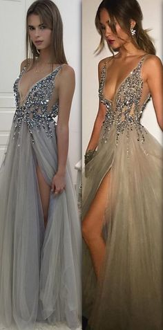 sparkly grey long prom dress, 2018 prom dress, deep v neck long prom dress, grey long prom dress with slit, formal evening dress party dress